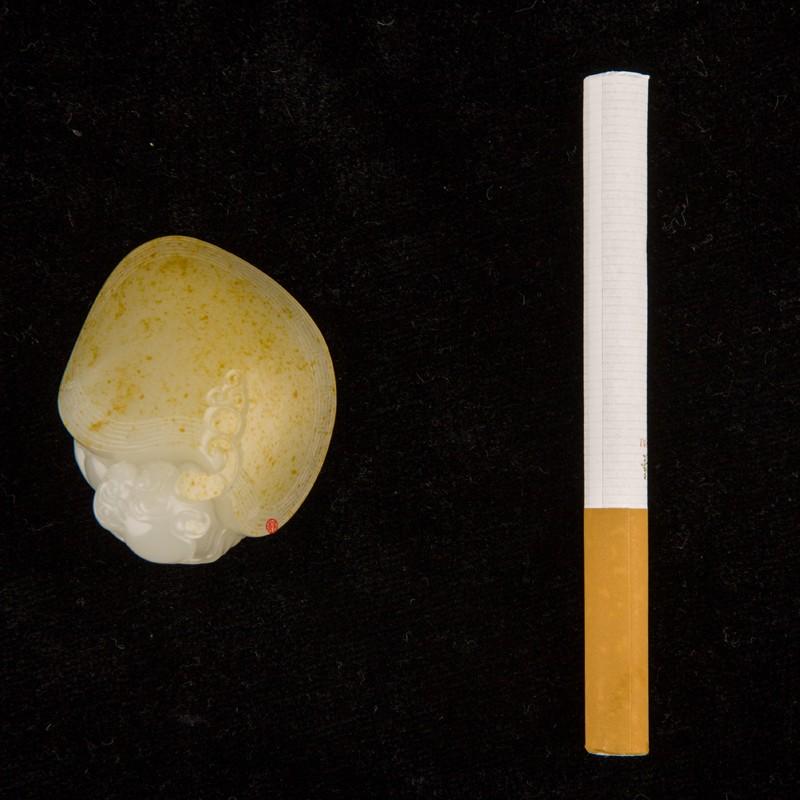 【琢艺轩】新疆和田玉黄皮白玉籽玉挂件 龙龟 33克