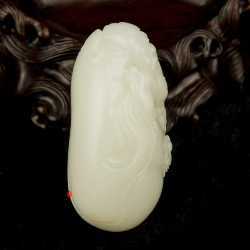 【琢艺轩】穆宇静作品 新疆和田玉黄皮羊脂白玉籽玉把件 财神 100克