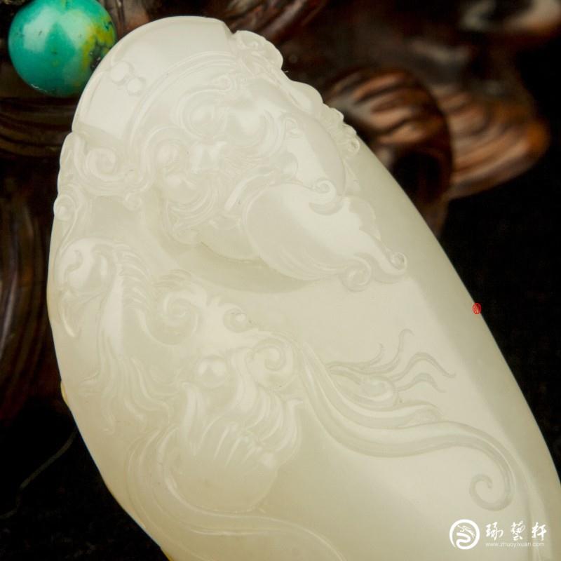 【琢艺轩】新疆和田玉黄皮羊脂白玉籽玉挂件  财神(秒杀价)   21克