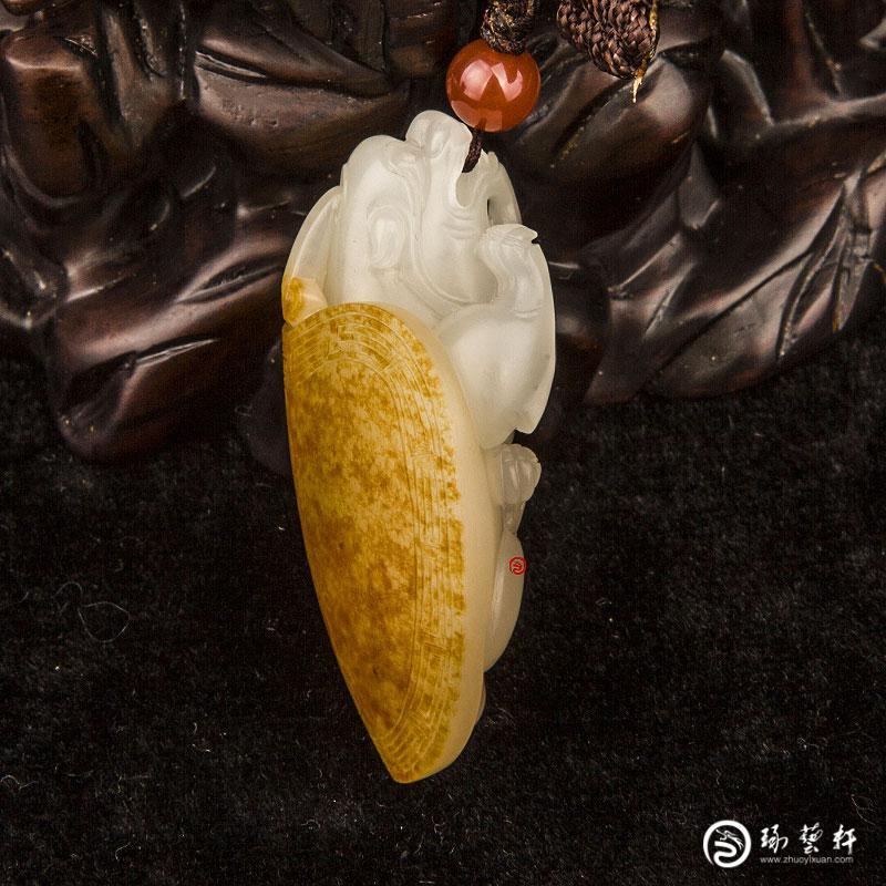 【琢艺轩】新疆和田玉红皮白玉籽玉挂件  龙龟 22克
