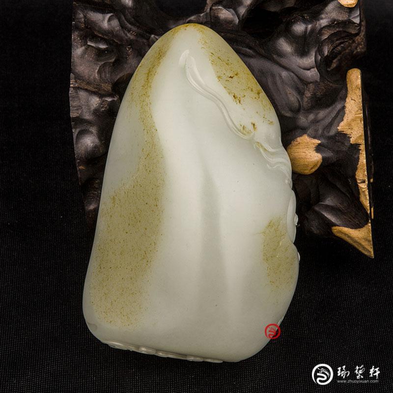 【琢艺轩】新疆和田玉黄皮白玉籽玉摆件  降妖纳福  511克