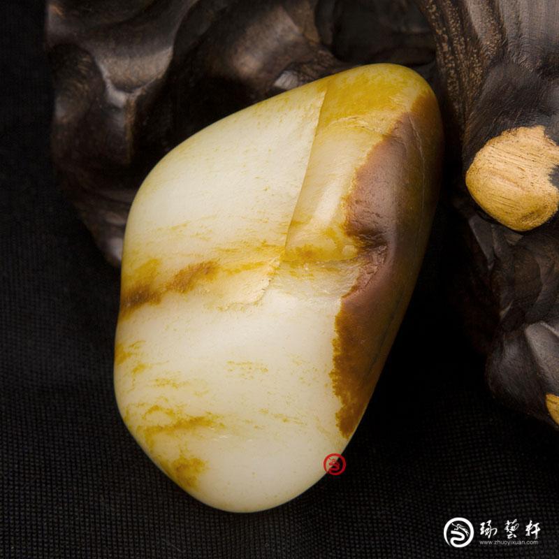 【琢艺轩】新疆和田玉红沁皮白玉籽玉    原石 123克