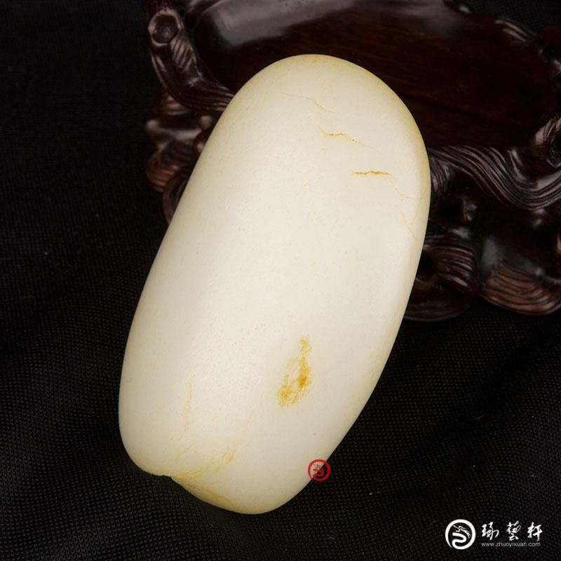 【琢艺轩】新疆和田玉黄皮羊脂白玉籽玉原石 106克