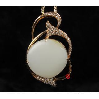 新疆和田玉羊脂白玉籽玉金鑲玉掛件  璀璨明珠 8克