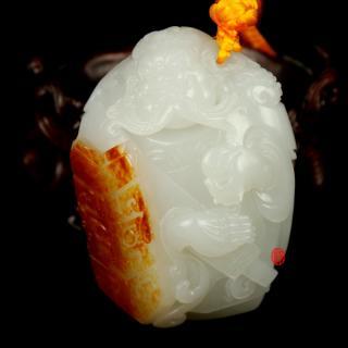 【琢藝軒】青藤出品 新疆和田玉紅皮一級白玉玉籽玉把件   智勇雙全  162克