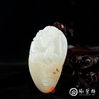 穆宇静作品 新疆和田玉黄皮羊脂白玉籽玉(独籽)把件   散脂大将   86克
