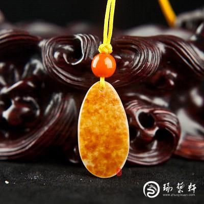 【琢艺轩】新疆和田玉红皮白玉籽玉挂件 观音 3克