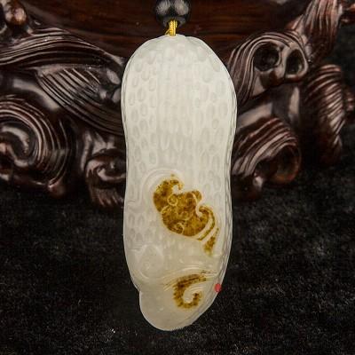新疆和田玉红皮一级白玉籽玉挂件  一生有福 30克