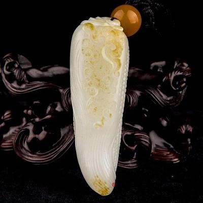 新疆和田玉黄皮一级白玉籽玉把件  多子多福  53克