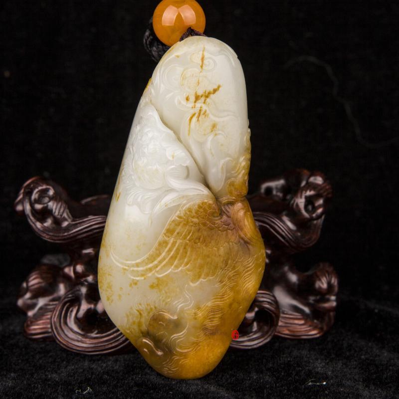 新疆和田玉红皮沁色白玉籽玉把件 凤穿牡丹(独籽) 93克
