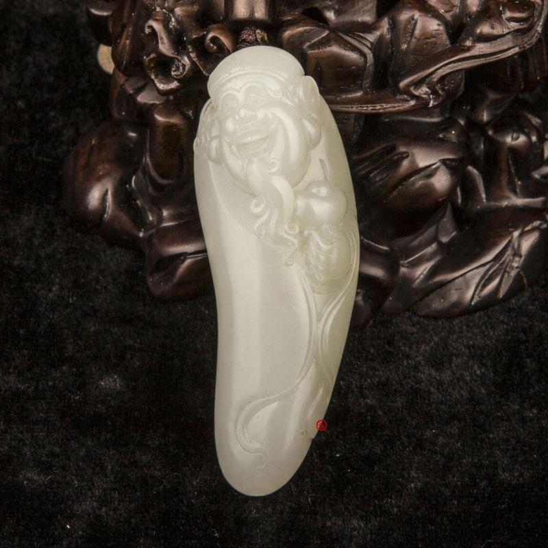 新疆和田玉黄皮一级白玉籽玉把件 财神纳福 49克