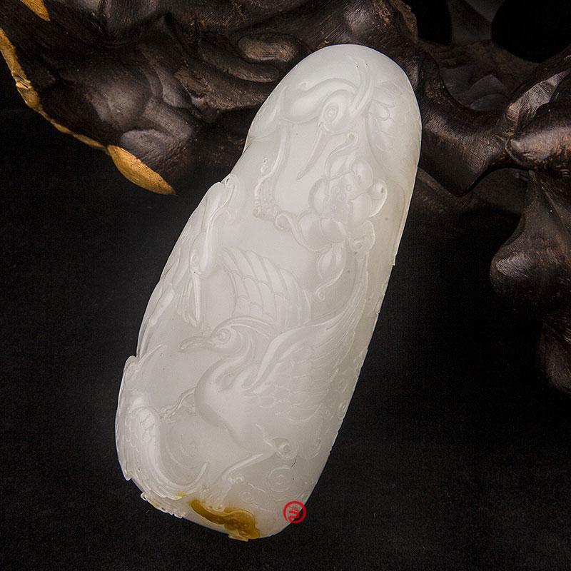 新疆和田玉黃皮羊脂白玉籽玉把件 路路有福 78克